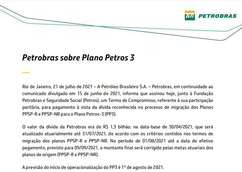 Petrobras assina termo de compromisso referente a pagamento junto à Petros