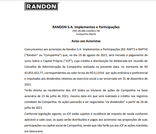 Randon anuncia pagamento de juros sobre capital próprio (JCP)