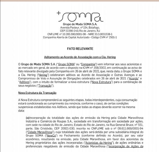 Grupo Soma e Hering assinam aditamento para nova estrutura de combinação de negócios