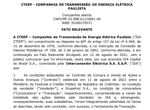 ISA Cteep anuncia fechamento da operação entre Ecopetrol e ministério da Fazenda e Crédito Público