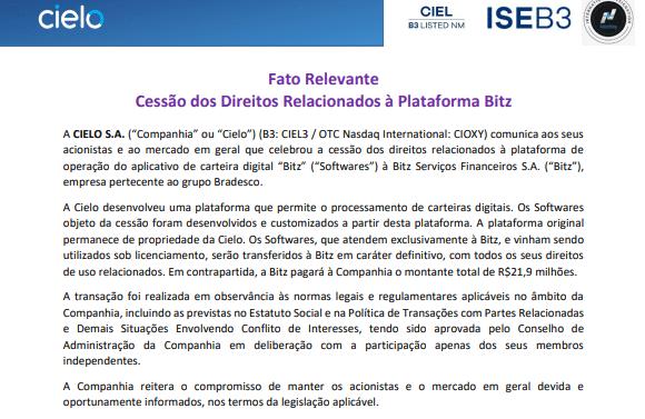 Cielo celebra cessão de direitos relacionados à plataforma Bitz, do Bradesco