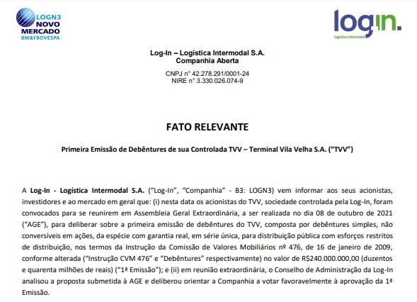 Log-In informa que sua controlada TVV fará 1ª emissão de debêntures