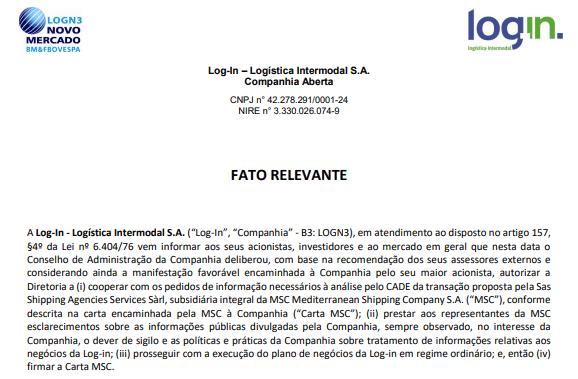 Log-In vai colaborar com Cade por pedido de aquisição da MSC