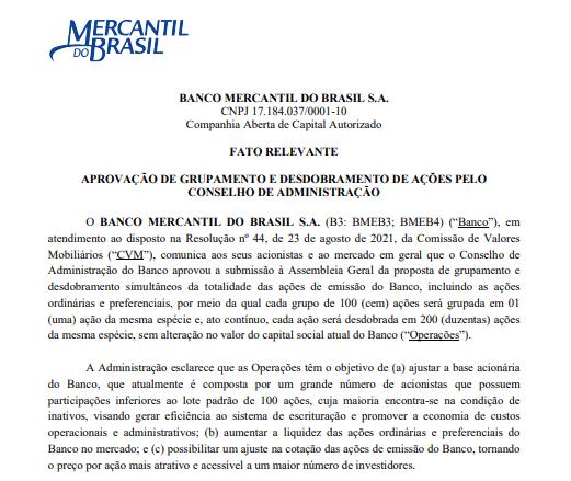 Banco Mercantil do Brasil aprova grupamento e desdobramento de ações