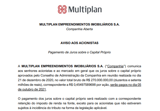 Multiplan vai pagar R$270 mi em juros sobre o capital próprio