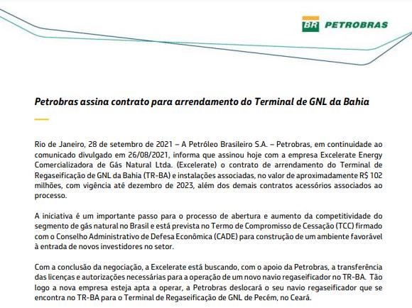 Petrobras assina contrato para arrendamento do Terminal de GNL da Bahia