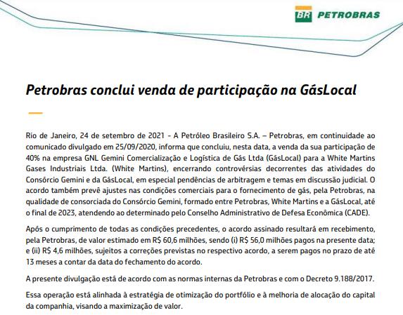 Petrobras conclui venda de participação na GásLocal