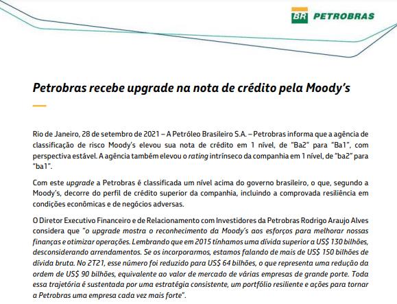 Moody's concede upgrade à nota de crédito da Petrobras
