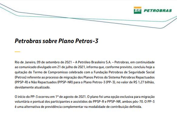 Petrobras quita Termo de Compromisso de R$ 1,27 bi com a Petros