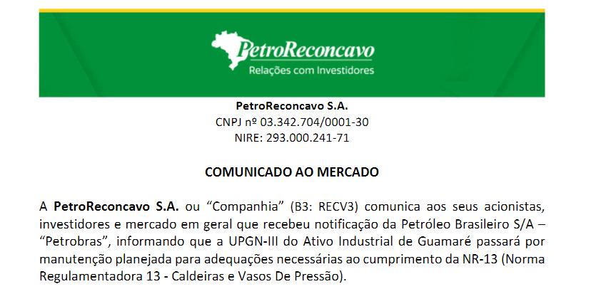 PetroRecôncavo informa que ativo industrial de Guamaré passará por manutenção planejada