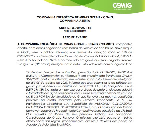 Cemig: Coligada Renova Energia vende participação na Brasil PCH por R$1,1 bi