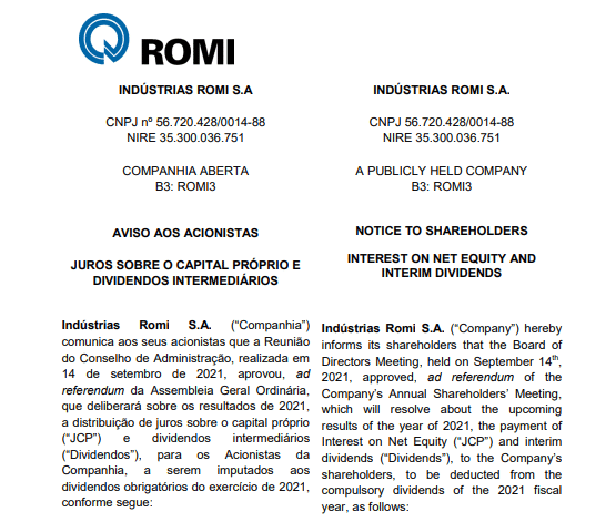 Indústrias Romi anuncia pagamento de dividendos e juros sobre capital próprio