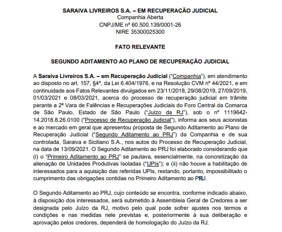 Saraiva apresenta proposta para segundo aditamento ao plano de recuperação judicial