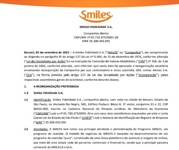 Smiles aprova reorganização societária pela Gol Linhas Aéreas