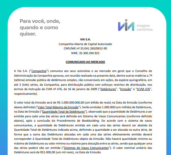 Via, ex-Via Varejo, anuncia emissão de R$1 bi em debêntures