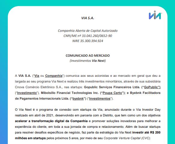 Controladora da Casas Bahia, Via anuncia investimento em startups